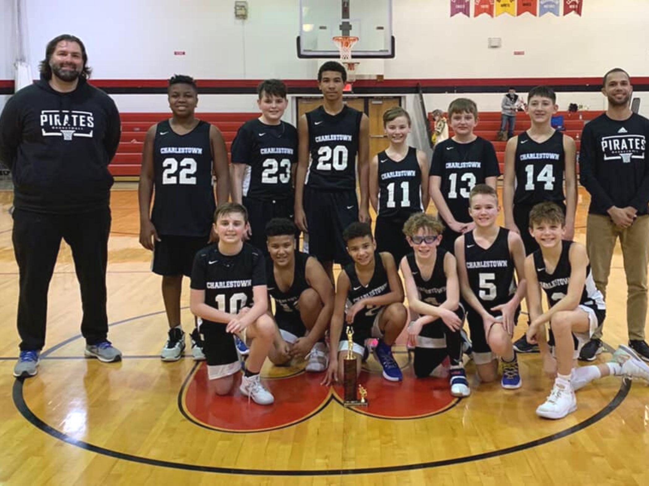 Boys basketball team posing together
