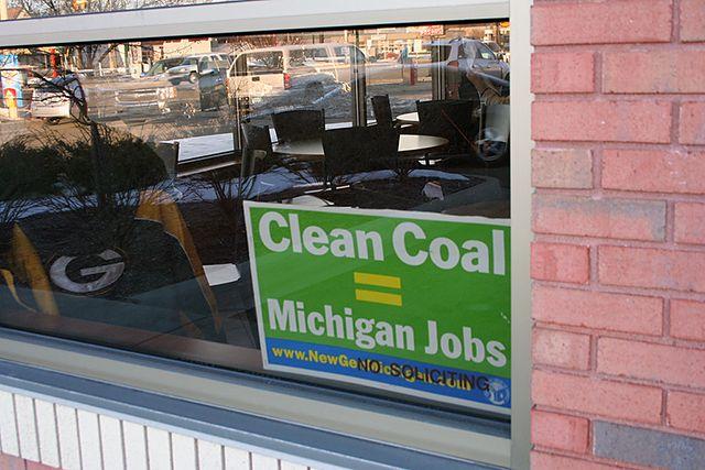 Clean Coal sign in a shop window