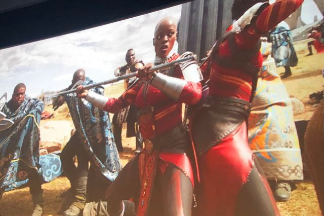 Still from the Marvel movie Black Panther depicting the female warriors of Wakanda, the Dora Milaje.