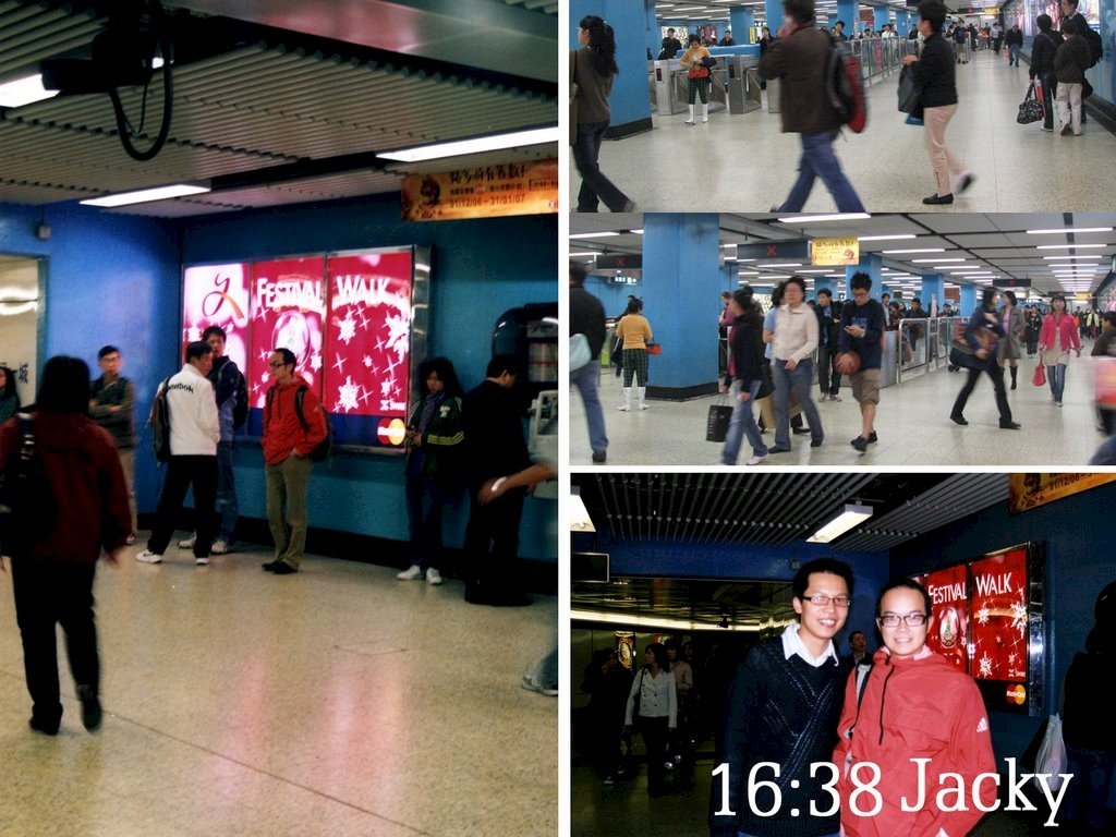 <p>Four images side by side. Three of the images show people standing and walking through a subway station. The fourth shows two men smiling at the camera.</p>