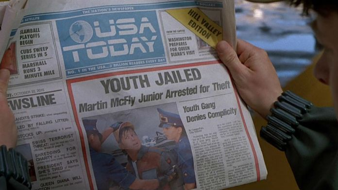 "This is the cover of USA Today for ""Back to the Future"" day — Quartz"