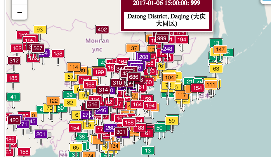Pollution in China: Daqing sees its air quality index (AQI) spike ...