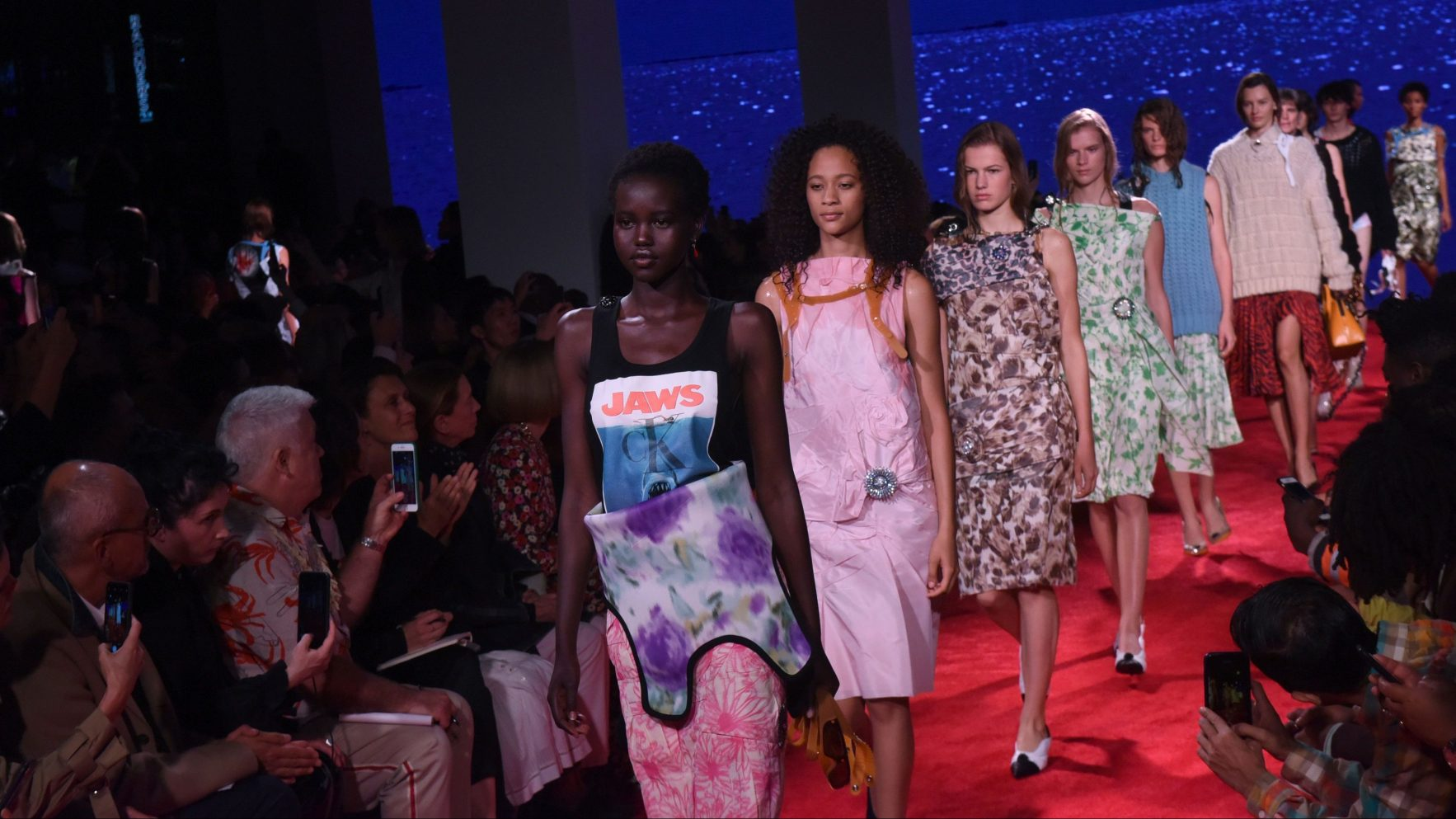 Models walk the runway at the finale of the Calvin Klein spring 2019 runway show during New York Fashion Week, Tuesday, Sept. 11, 2018. (AP Photo/Diane Bondareff)