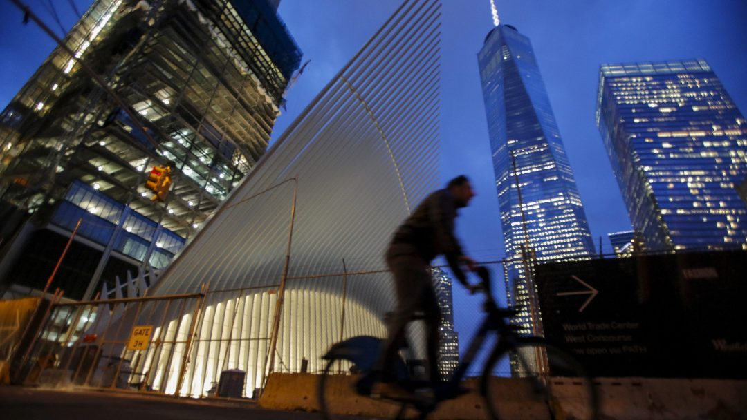 Sept. 11 led to the boom in supertall skyscrapers A man cycles past the Oculus structure of the World Trade Center Transportation Hub and the One World Trade Center building in New York