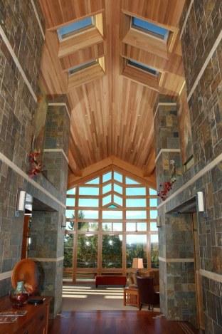 Indoor cedar clad ceiling