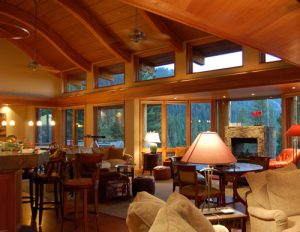 indoor cedar ceiling and windows