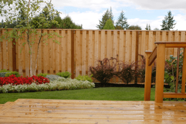 Western Red Cedar Fence Backyard With Deck