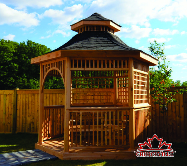Custom-Cedar-Gazebo-with-Cupola-Lattice-Muskoka-Benches-and-HerringBone