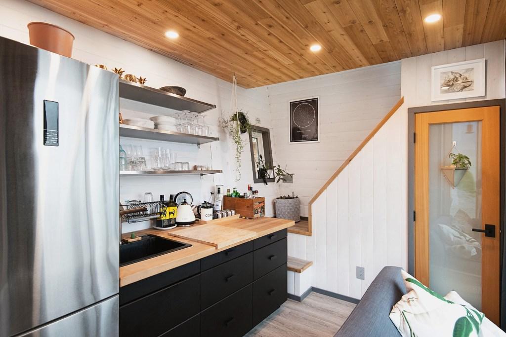 western red cedar tiny home interior
