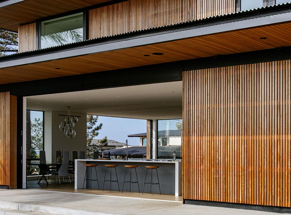 western red cedar indoor outdoor living area