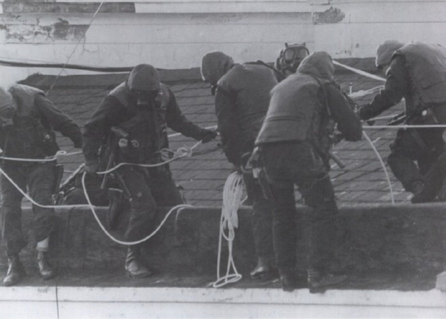 British SAS Prepare to Rappel Down the Embassy