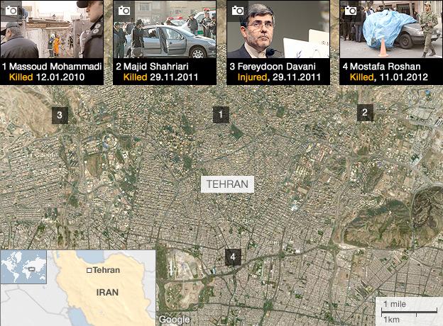 Iranian Nuclear Scientist Kill Zones