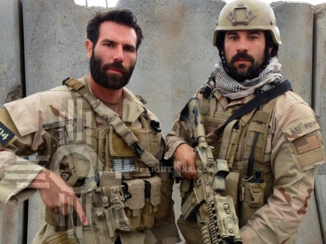 Dan Bilzerian (left) playing Dan Healy and Jerry Angelo (right) playing as of now an unidentified SEAL