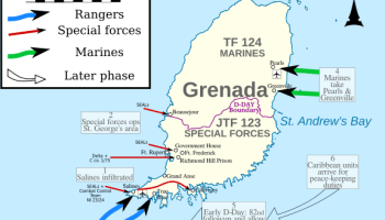 Map of combat units during the Grenada invasion