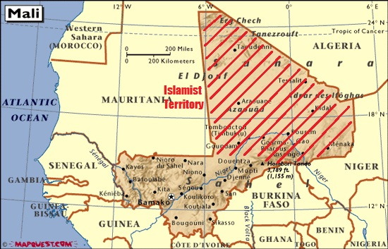 The extent of the Islamist's control over Northern Mali.