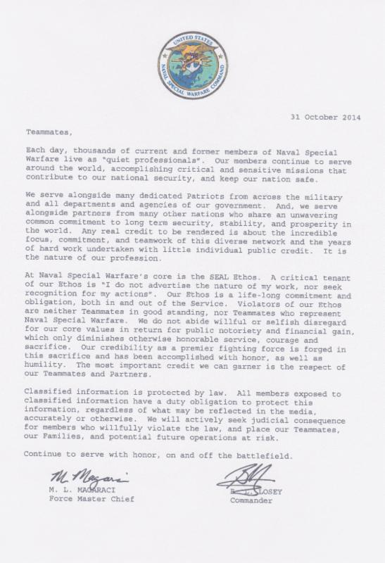 Letter sent to the Naval Special Warfare community by senior leadership of NSWC.