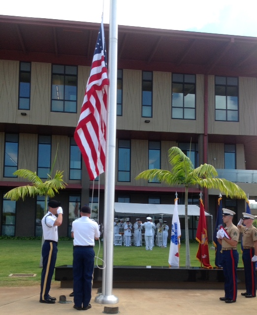 This is the official flag raising during the formal dedication ceremony of the new Senator Daniel K. Inouye Defense POW/MIA Accounting Agency Center of Excellence in Hawaii - named after Medal of Honor recipient Sen. Daniel K. Inouye.