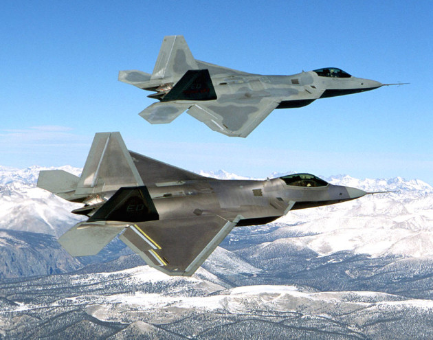 FILE PHOTO -- The F-22 is an air-superiority fighter with improved capability over current Air Force aircraft. From the inception of the battle, the F-22's primary objective will be to establish air superiority through the conduct of counter air operations. The F-22 also has an inherent air-to-surface capability. A combination of improved sensor capability, improved situational awareness, and improved weapons provides first-kill opportunity against the threat. (U.S. Air Force photo)