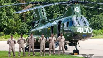 USMC CH-46 Bows Out