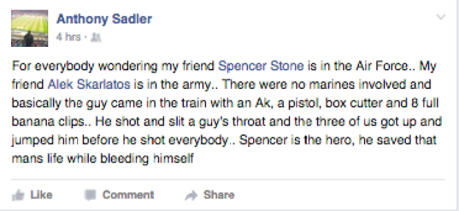 Anthony Sadler on the train, describes the account. Image courtesy of Facebook.