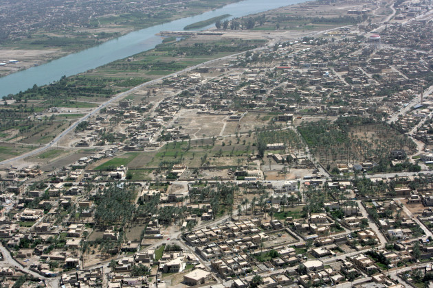 Shown here April 23, 2008, is an aerial view of the Euphrates River in Ramadi, Iraq, taken from a U.S. Marine Corps UH-1N Huey Helicopter flown by Marines of Marine Light Attack Helicopter Squadron (HMLA) 169, Marine Aircraft Group 16, 3rd Marine Aircraft Wing. (U.S. Marine Corps photo by Cpl. Jeremy M. Giacomino/Released)