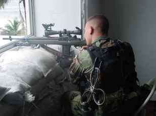 Based on the vintage M14 design, the Designated Marksman Rifle (DMR) is a 7.62mm x 51mm semi-automatic sniper rifle in service with the United States Marine Corps (USMC). As the name indicates, the DMR is designed for the designated marksman role, i.e. a medium-range sniper capability integrated at the squad level.