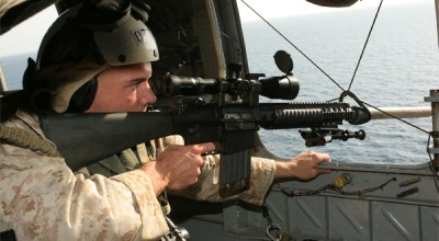 Marine scout sniper on aerial sniping