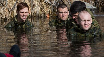 Corpsmen subject themselves to hypothermia for training