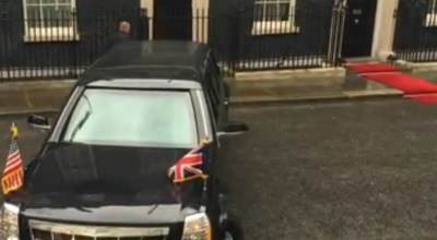 Watch: President Obama's 'Beast' does a three-point turn in London