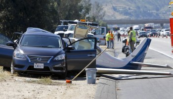 Lancair Belly-Lands On Freeway, 1 Killed