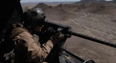 Watch: UH-1Y Door Gunners conduct aerial gunnery