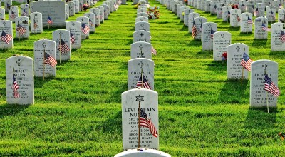 Soldiers placing 230,000 US flags at Arlington National Cemetery