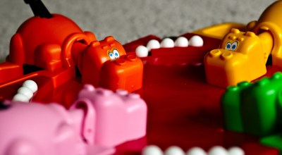 Airmen play 'Hungry Hippos' for team-building experience