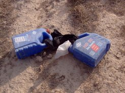 Cleared, HME, IED plastic jugs.