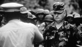 General Potter meets with Haitian officials during Operation Uphold Democracy.