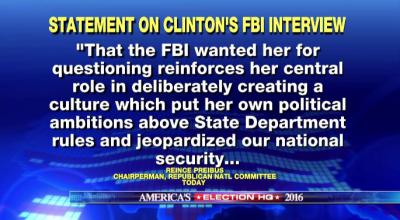 Clinton interviewed by FBI regarding email investigation