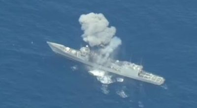 Watch: Decommissioned Navy warship hit with missiles and torpedoes