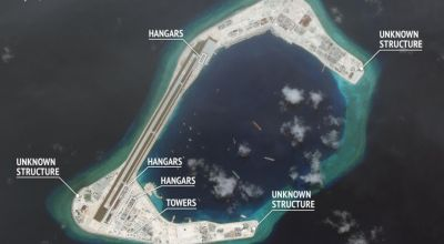 The Chinese are building hangars for jets on South China Sea islands