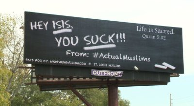 Muslims post anti-ISIS billboard