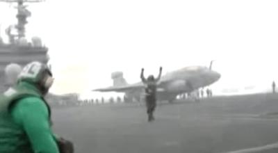 Watch: Navy sailor on aircraft carrier literally 'Blown away' by jet blast!