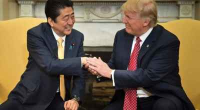 Trump and Japanese PM reaffirm 'unshakable' alliance in meeting at White House