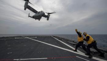 MV-22 Osprey during flight quarters aboard the amphibious dock landing ship USS Ashland (LSD 48)