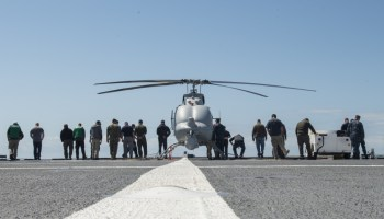 MQ-8C Fire Scout Makes First Flight Off Combat Ship