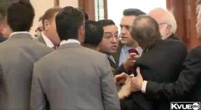 A Texas Republican called ICE on protesters. Then lawmakers started to scuffle.