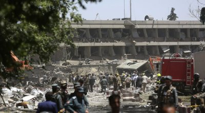 Large truck bomb near the foreign embassies in Kabul kills at least 80