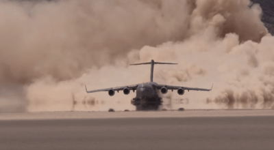 Watch: Air Force C-17 takes off from Delamar Dry Lake Bed 'Texas Lake'