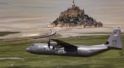 Picture of the day: C-130J Super Hercules flies past Mont Saint-Michel in Normandy, France