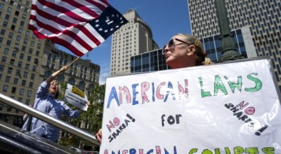 Anti-sharia demonstrators hold rallies in cities across the country