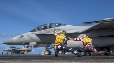 Picture of the day: US Navy F-18 Super Hornet launching on the 4th of July