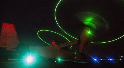 Picture of the Day: MV-22B Osprey Tilt-rotor Aircraft Lights Up the Night!